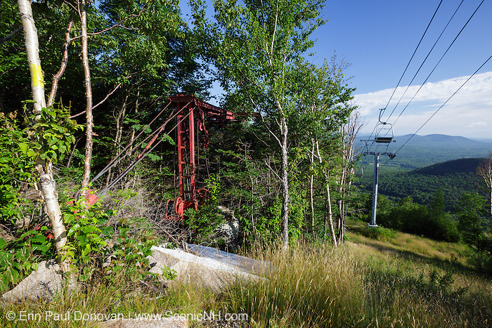 Abandoned chair lift (on left) on Mittersill Mountain in Fraconia, New Hampshire during the summer months. The Mittersill-Cannon Trail passes by this lift.