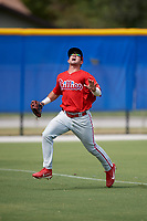 Philadelphia Phillies Josh Stephen (2) tracks a fly ball during an Instructional League game against the Toronto Blue Jays on October 7, 2017 at the Englebert Complex in Dunedin, Florida.  (Mike Janes/Four Seam Images)