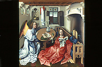 "Paintings:  Robert Campin--Merode Altarpiece, ""Annunciation to the Virgin"", center panel, c. 1425.  Met. Museum of Art, Cloisters.  Reference only."