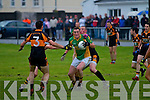 No where to go South Kerry's Brendan O'Sullivan with Stack's man Kieran Donaghy on his shoulder and more closing in surrenders possession to a solid Austin Stacks defense.