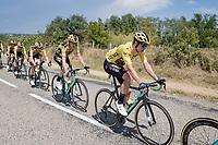 Team Jumbo-Visma controlling the peloton with yellow jersey Wout van Aert (BEL/Jumbo - Visma) in a prominent roll<br /> <br /> Stage 2: Vienne to Col de Porte (135km)<br /> 72st Critérium du Dauphiné 2020 (2.UWT)<br /> <br /> ©kramon
