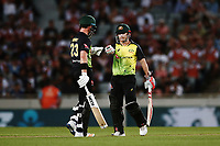David Warner and D'Arcy Short of Australia in their partnership. New Zealand Black Caps v Australia, Final of Trans-Tasman Twenty20 Tri-Series cricket. Eden Park, Auckland, New Zealand. Wednesday 21 February 2018. © Copyright Photo: Anthony Au-Yeung / www.photosport.nz