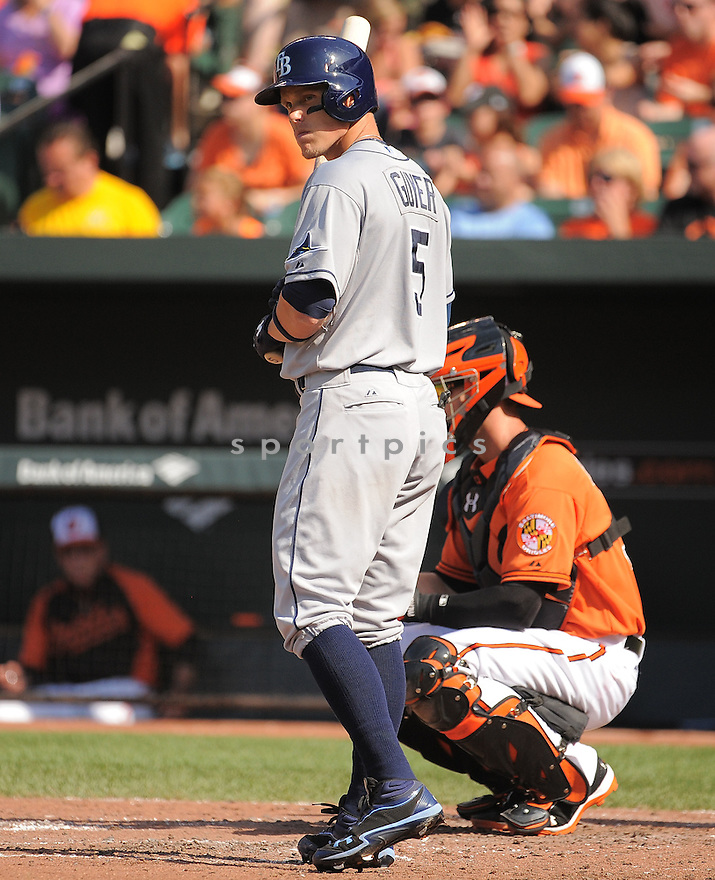 Tampa Bay Rays Brandon Guyer (5) during a game against the Baltimore Orioles on June 28, 2014 at Oriole Park in Baltimore, MD. The Rays beat the Orioles 5-4.