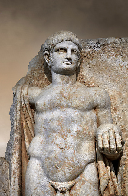 Detail of a Roman Sebasteion relief  sculpture of Emperor Nero with captive, Aphrodisias Museum, Aphrodisias, Turkey.  Against an art background.<br /> <br /> Naked warrior emperor Nero holds the orb of world rule in one hand and crowns the military trophy with the other. Between the trophy and the emperor stands a bound captive boy. He wears long barbarian trousers and looks up at Nero.