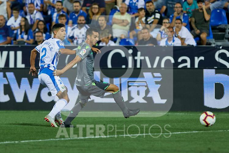 Leganes' Juan Francisco Moreno and Real Sociedad's Juan Miguel Jimenez during La Liga match. August 24, 2018. (ALTERPHOTOS/A. Perez Meca)