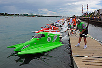 26  July, 2009, Trenton, Michigan USA.Jason Nelson (#18) leads Bud Nollman (#6) and Butch Ott (#78) off the dock for the start of heat 4 of the SST-45 World Championship..©2009 F.Peirce Williams USA.SST-45 class