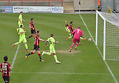 07/05/2016 Sky Bet League Two Morecambe v York City<br /> Vadaine Oliver fails to make contact