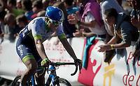 Michael Albasini (SUI/Orica-GreenEDGE) crosses the finish line 3rd.<br /> <br /> 79th Flèche Wallonne 2015
