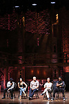"Donald Webber Jr., Lauren Boyd, Gregory Treco, Sasha Hollinger and J. Quinton Johnson from the 'Hamilton' cast during a Q & A before The Rockefeller Foundation and The Gilder Lehrman Institute of American History sponsored High School student #EduHam matinee performance of ""Hamilton"" at the Richard Rodgers Theatre on May 24, 2017 in New York City."