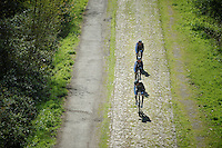 Team Trek Factory Racing over the cobbles of the Bois de Wallers-Arenberg<br /> <br /> 2014 Paris-Roubaix reconnaissance