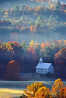 Aerial view of Methodist Church, Cades Cove, Great Smoky Mountains National Park, Tennessee.