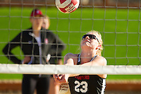 Stanford, CA - February 22, 2017: Stanford Women's Beach Volleyball intersquad match at the sand volleyball courts.