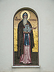 Rakovica monastery, rain, site where His Holyness in repose, Pavle is entombed.<br /> <br /> Mosaic icon of St. Stefan Nemanja