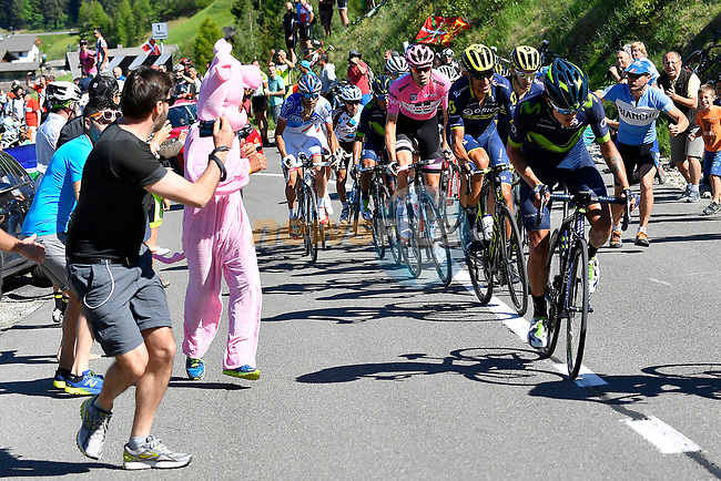 The chase group including race leader Tom Dumoulin (NED) Team Sunweb near the end of Stage 18 of the 100th edition of the Giro d'Italia 2017, running 137km from Moena to Ortisei/St. Ulrich, Italy. 25th May 2017.<br /> Picture: LaPresse/Fabio Ferrari | Cyclefile<br /> <br /> <br /> All photos usage must carry mandatory copyright credit (&copy; Cyclefile | LaPresse/Fabio Ferrari)