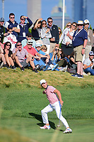 Kevin Kisner (USA) reacts to barely missing a long putt on 14 during round 2 Four-Ball of the 2017 President's Cup, Liberty National Golf Club, Jersey City, New Jersey, USA. 9/29/2017.<br /> Picture: Golffile | Ken Murray<br /> <br /> All photo usage must carry mandatory copyright credit (&copy; Golffile | Ken Murray)