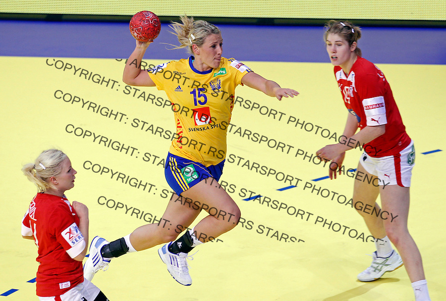 NIS, SERBIA 4/12/2012/ Johanna Ahlm of Sweden (C) in action during Women`s European Handball Championship match between France and FYR Macedonia (FYROM) in Cair arena in city of Nis in southern Serbia on  December 4, 2012 Credit: PEDJA MILOSAVLJEVIC/SIPA/
