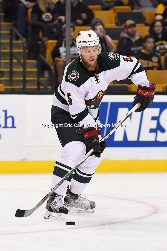 Thursday, November 19, 2015: Minnesota Wild defenseman Christian Folin (5) warms up before the National Hockey League game between the Minnesota Wild and the Boston Bruins held at TD Garden, in Boston, Massachusetts. The Bruins defeat the Wild 4-2. Eric Canha/CSM