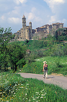 Walker on road below Village of Baschi, Tevere Valley, southeast of Orvieto, Umbria, Italy, AGPix_0203.
