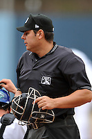 Homeplate umpire Jorge Teran during a game between the West Virginia Power and the Asheville Tourists  at McCormick Field on April 14, 2013 in Asheville, North Carolina. The Power won the game 12-7. (Tony Farlow/Four Seam Images).