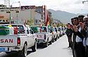 Iraq 2009.In Suleimania, a convoy of vehicles bringing back to Kurdistan 250 coffins with the bodies of Anfal's victims   Irak 2009 . A Souleimania, un convoi transportant  les 250 cercueils de victimes de l'Anfal