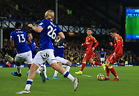 23rd  November 2019; Goodison Park , Liverpool, Merseyside, England; English Premier League Football, Everton versus Norwich City; Sam Byram of Norwich City makes space to shoot at goal - Strictly Editorial Use Only. No use with unauthorized audio, video, data, fixture lists, club/league logos or 'live' services. Online in-match use limited to 120 images, no video emulation. No use in betting, games or single club/league/player publications