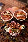 October 20, 2012. Raleigh, North Carolina..The Ensalada Monje, Enchiladas Pueblo and Steak Tacos at Dos Taquitos.