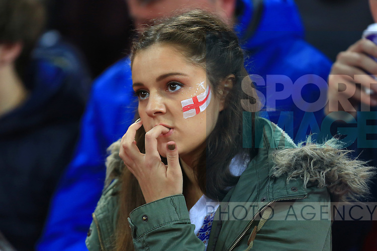 An England fan bites her nails ahead of kick off - England vs. Slovenia - UEFA Euro 2016 Qualifying - Wembley Stadium - London - 15/11/2014 Pic Philip Oldham/Sportimage