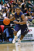 February 08, 2011:    North Florida Ospreys guard William Wilson (4) brings the ball up court during Atlantic Sun Conference action between the Jacksonville Dolphins and the North Florida Ospreys at Veterans Memorial Arena in Jacksonville, Florida.  Jacksonville defeated North Florida 71-69.