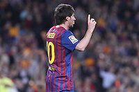 5/05/2012. Barcelona, Spain. La Liga. Picture show Leo Mesi after scoring during match FC Barcelona against RCD ESpanyol at Camp Nou