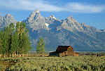 "View of the ""Mormon Barn"" and Teton Range, Grand Teton National Park, Wyoming, USA"