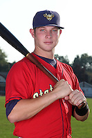 State College Spikes third baseman Chase Lyles (13) poses for a photo before a game vs. the Batavia Muckdogs at Dwyer Stadium in Batavia, New York July 17, 2010.   Batavia defeated State College 12-11 in 11 innings.  Photo By Mike Janes/Four Seam Images