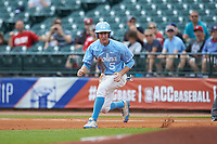 Brian Miller (5) of the North Carolina Tar Heels takes his lead off of first base against the Florida State Seminoles in the 2017 ACC Baseball Championship Game at Louisville Slugger Field on May 28, 2017 in Louisville, Kentucky. The Seminoles defeated the Tar Heels 7-3. (Brian Westerholt/Four Seam Images)
