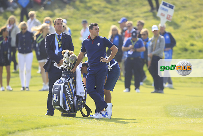 Rory McIlroy (Team Europe) on the 2nd green during the Friday Foursomes at the Ryder Cup, Le Golf National, Ile-de-France, France. 28/09/2018.<br /> Picture Thos Caffrey / Golffile.ie<br /> <br /> All photo usage must carry mandatory copyright credit (© Golffile | Thos Caffrey)