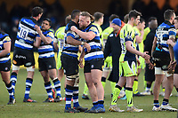 Max Lahiff of Bath Rugby at the final whistle. Aviva Premiership match, between Bath Rugby and Sale Sharks on February 24, 2018 at the Recreation Ground in Bath, England. Photo by: Patrick Khachfe / Onside Images