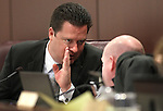 Nevada Assembly Speaker John Oceguera, D-Las Vegas, talks with committee analyst Rick Combs Monday morning, May 9, 2011, at the Legislature in Carson City, Nev..Photo by Cathleen Allison