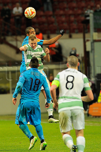 26.02.2015. Milan, Italy.  Juan of FC Inter and John Guidetti of Celtic FC  in heading action during the Europa League soccer match between Inter Milan and Celtic FC at San Siro Stadium in Milan, Italy.