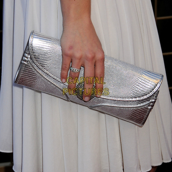 EMMY ROSSUM'S BAG.LG Electronics Launches the Scarlet HD TV Series at the Pacific Design Center, West Hollywood, California, USA..April 28th, 2008.hand diamond ring clutch silver .CAP/ADM/BP.©Byron Purvis/AdMedia/Capital Pictures.