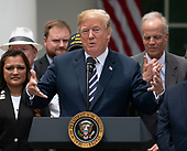 United States President Donald J. Trump speaks before signing S. 2372 – VA Mission Act of 2018 at the White House in Washington, DC, June 6, 2018. Credit: Chris Kleponis / CNP