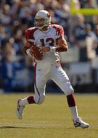 Sep 25, 2005; Seattle, WA, USA; Arizona Cardinals quarterback #13 Kurt Warner drops back to pass against the Seattle Seahawks in the second quarter at Qwest Field. Mandatory Credit: Photo By Mark J. Rebilas