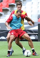 MEXICO CITY, MEXICO - AUGUST 15, 2012:  Matt Besler and Jermaine Jones of the USA MNT battle it out in practice before an international friendly match against Mexico at Azteca Stadium, in Mexico City, Mexico on August 15.