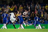Watford's Stefano Okaka Chuka scores his sides equalising goal to make the score 3-3      <br /> <br /> <br /> Photographer Craig Mercer/CameraSport<br /> <br /> The Premier League - Chelsea v Watford - Monday 15th May 2017 - Stamford Bridge - London<br /> <br /> World Copyright &copy; 2017 CameraSport. All rights reserved. 43 Linden Ave. Countesthorpe. Leicester. England. LE8 5PG - Tel: +44 (0) 116 277 4147 - admin@camerasport.com - www.camerasport.com