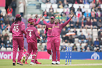 All smiles as Sheldon Cottrell (West Indies) celebrates the wicket of Aiden Markram  (South Africa) during South Africa vs West Indies, ICC World Cup Cricket at the Hampshire Bowl on 10th June 2019