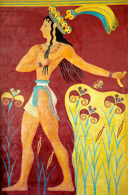 """Prince of lilies"" or ""Priest-king Relief"", plaster relief at the end of the Corridor of Processions, restored by Gilliéron, Knossos Minoan archaeological site"