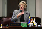 Nevada Sen. Joyce Woodhouse, D-Henderson, speaks on the Senate floor at the Legislative Building in Carson City, Nev., on Wednesday, May 27, 2015. <br /> Photo by Cathleen Allison