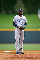 Pensacola Blue Wahoos starting pitcher Amir Garrett (22) gets ready to deliver a pitch during a game against the Birmingham Barons on May 2, 2016 at Regions Field in Birmingham, Alabama.  Pensacola defeated Birmingham 6-3.  (Mike Janes/Four Seam Images)
