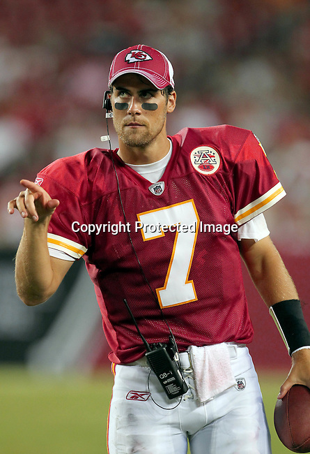 Kansas City Chief's quarterback Matt Cassel watches from the sidelines in the second half of the game against the Tampa Bay Buccaneers. The Buccaneers defeated the Chiefs 20-15 during an NFL preseason game Saturday, Aug. 21, 2010 in Tampa,Fla. (AP Photo/Margaret Bowles).