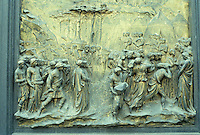 Florence: East door, Basptisty--Joshua, taking of Jericho. Ghiberti, 1425-1452. (Stupid me--the upper part--trumpeters--is missing.) Photo '83.