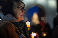 NEW YORK,NY December 16,2016: A woman with a candle screams during a vigil to protest against the Syrian government and the killing of innocent people in Washington Square Park, in New York City, December  16,2016. Photo by VIEWpress/Maite H. Mateo