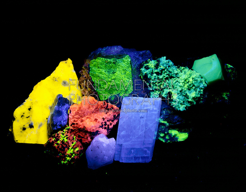 MINERAL FLUORESCENCE<br /> (2 of 2)<br /> Photoluminescence Under Full spectrum UV light<br /> 1) powellite (yellow) 2) willemite (green) 3) scheelite (blue) 4) calcite (red) 5) calcite (red), willemite (green) 6) optical calcite (blue) 7) willemite (green) 8) opal patch (green)