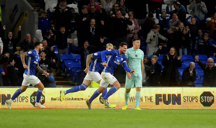 Cardiff City's Sean Morrison celebrates scoring his side's first goal <br /> <br /> Photographer Ian Cook/CameraSport<br /> <br /> The EFL Sky Bet Championship - Cardiff City v Queens Park Rangers - Wednesday 2nd October 2019  - Cardiff City Stadium - Cardiff<br /> <br /> World Copyright © 2019 CameraSport. All rights reserved. 43 Linden Ave. Countesthorpe. Leicester. England. LE8 5PG - Tel: +44 (0) 116 277 4147 - admin@camerasport.com - www.camerasport.com